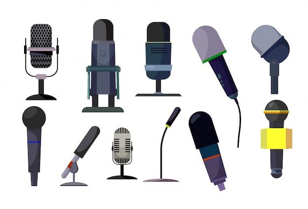 Professionele microfoons ingesteld Gratis Vector