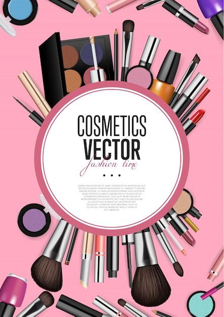 Professionele mode make-up realisme banner Premium Vector