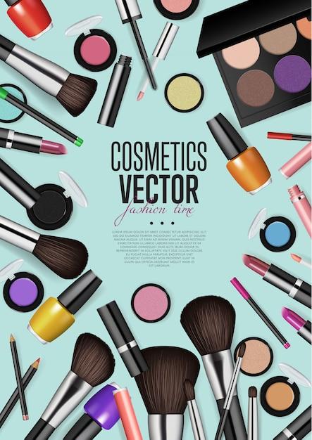 Professionele mode make-up realisme vector banner Premium Vector