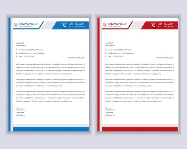 Professionele moderne zakelijke briefhoofd sjabloonontwerp Premium Vector