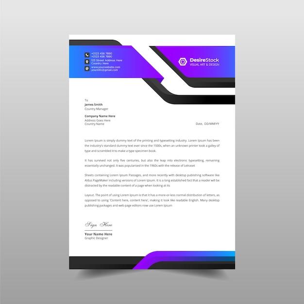 Professionele moderne zakelijke briefhoofdsjabloon Premium Vector