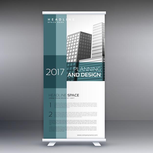 Professionele roll up standee banner vector design sjabloon Gratis Vector