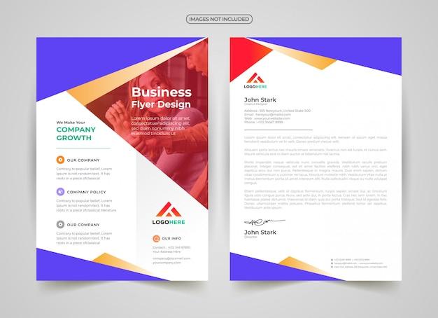 Professionele sjabloon voor folder en briefhoofd Premium Vector