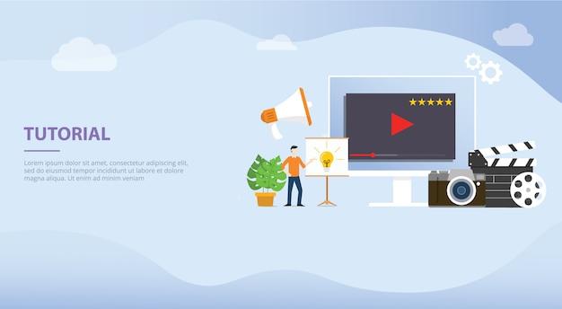 Professionele tutorial training creatie concept voor website sjabloon of startpagina van de landing Premium Vector