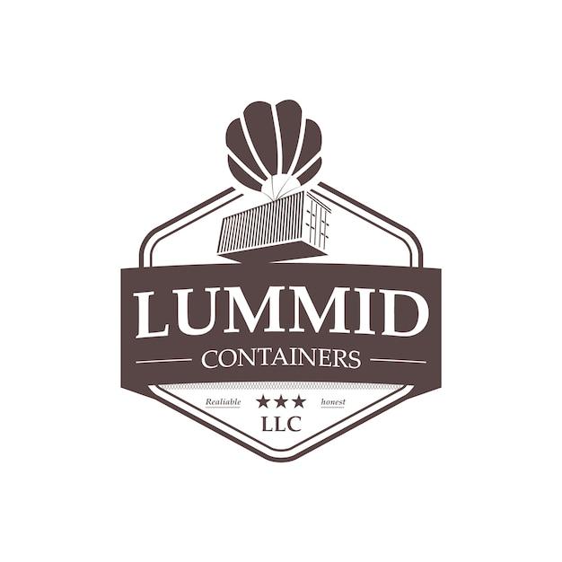 Professionele verzending containers vintage logo Premium Vector