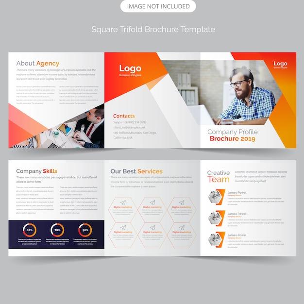 Professionele vierkante driebladige brochure Premium Vector