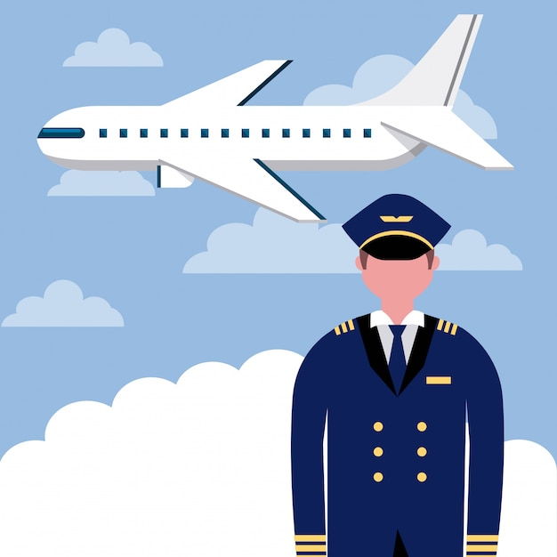 Professionele vliegtuigpiloot Gratis Vector