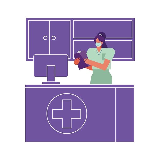Professionele vrouwelijke chirurg die medische masker draagt dat in desktopillustratie werkt Premium Vector