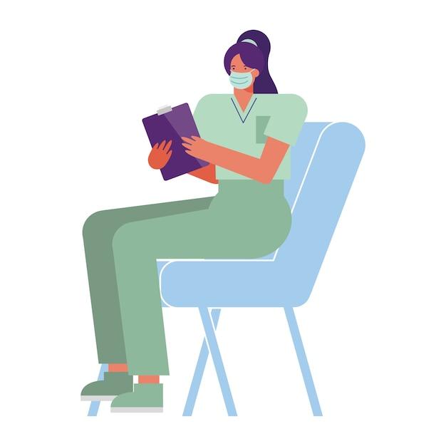 Professionele vrouwelijke chirurg draagt medische masker zittend in stoel illustratie Premium Vector