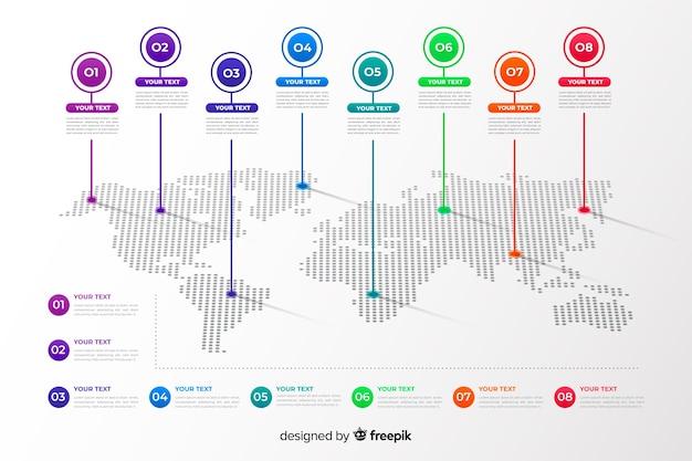 Professionele wereldkaart infographic Gratis Vector