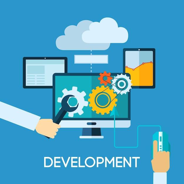 Programm ontwikkeling vlakke afbeelding Gratis Vector