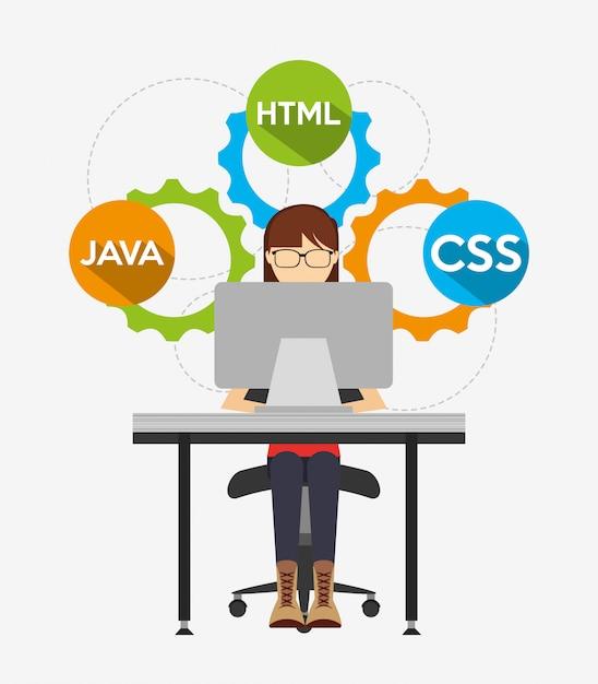 Programmeertaal illustratie Gratis Vector