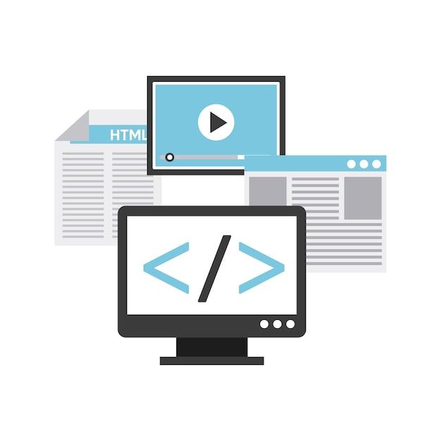 Programmeertaal ontwerp Premium Vector