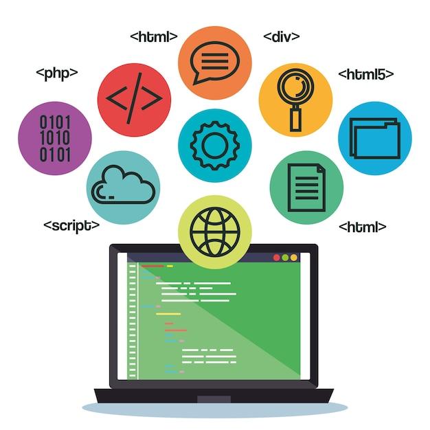 Programmeertalen stellen pictogrammen in Premium Vector