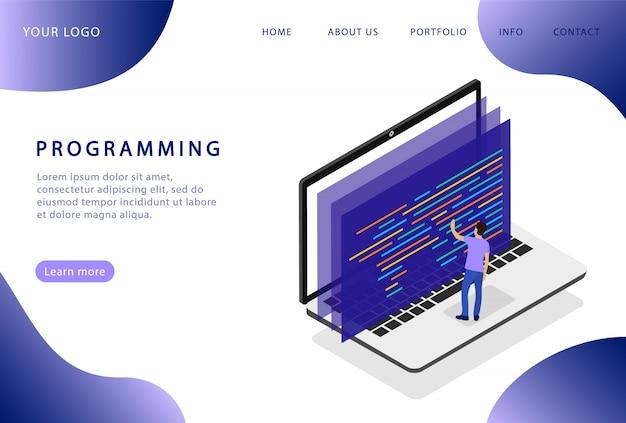 Programmeren op een laptop. software ontwikkeling. bestemmingspagina. moderne webpagina's voor websites. Premium Vector