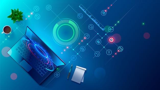 Programmeren, testen van platformonafhankelijke code, app op laptop, tablet, telefoon. maken, bewerken van script-bureaublad Premium Vector