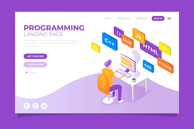 Programmering bestemmingspagina concept Gratis Vector
