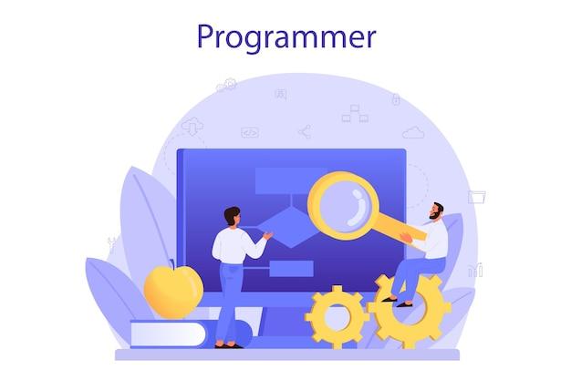 Programmering concept. idee van werken op de computer, programmeren, testen en schrijven van programma, met behulp van internet en verschillende software. website ontwikkeling . geïsoleerde vectorillustratie Premium Vector