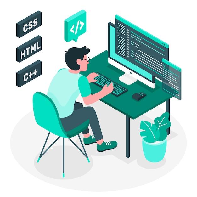 Programmering concept illustratie Gratis Vector