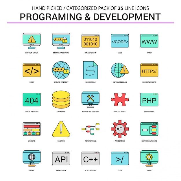 Programmering en ontwikkeling flat line icon set Premium Vector