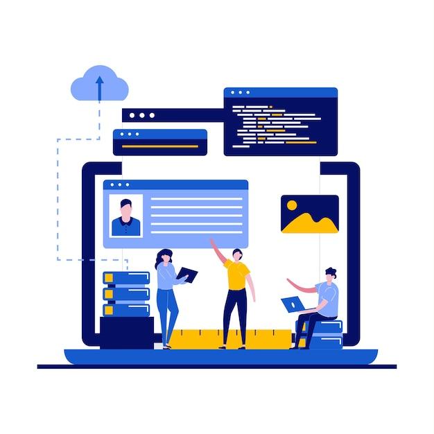 Programmering en webdesign met karakter. Premium Vector