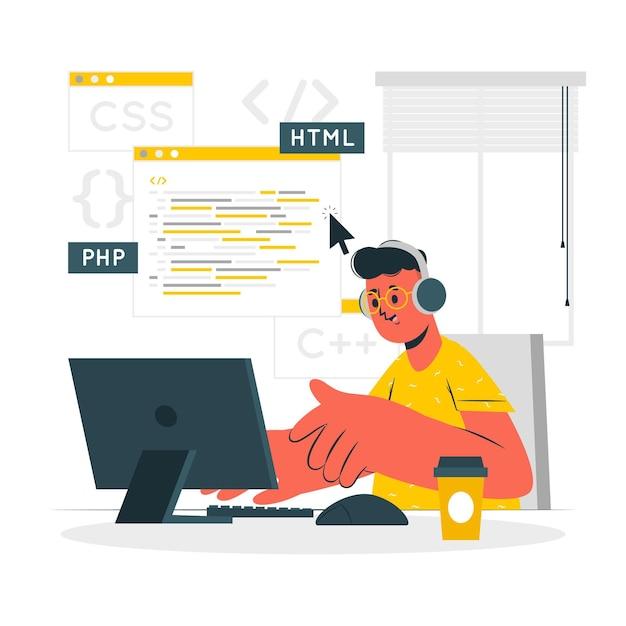 Programmeur concept illustratie Gratis Vector