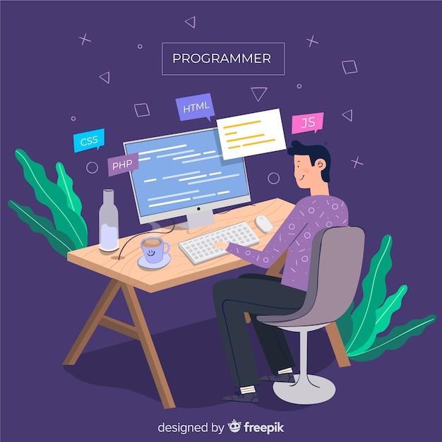 Programmeur doet zijn werk platte ontwerp Gratis Vector