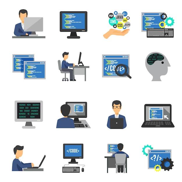Programmeur icons flat set Gratis Vector