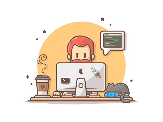 Programmeur met code, kat op boek en koffie vector illustraties Premium Vector