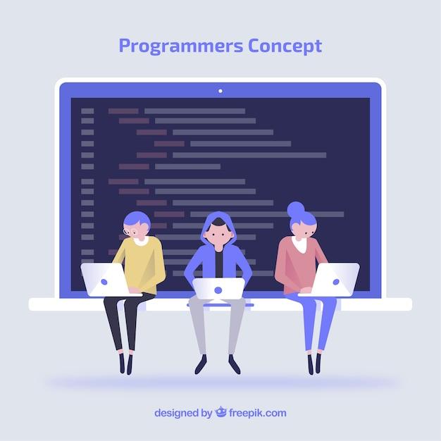 Programmeursconcept met vlak ontwerp Gratis Vector