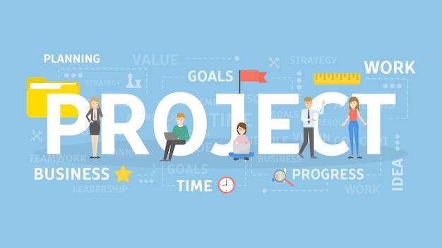 Project concept illustratie. Premium Vector