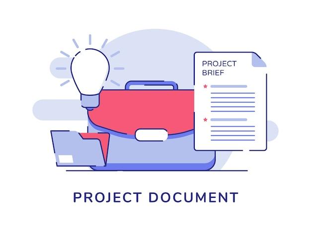 Project document concept koffer gloeilamp bestandsmap witte geïsoleerde achtergrond Premium Vector
