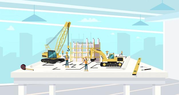 Project in architectenbureau van bouwhuis. Premium Vector