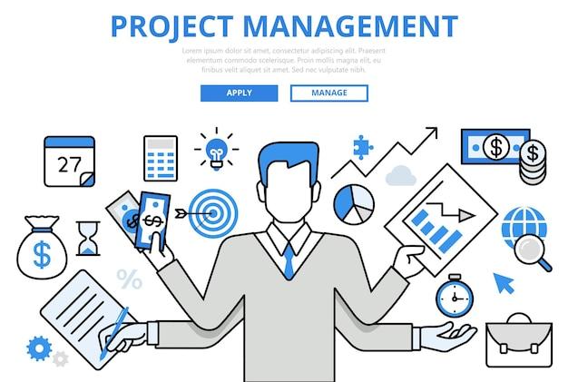 Project management business multitasking concept platte lijn kunst pictogrammen. Gratis Vector
