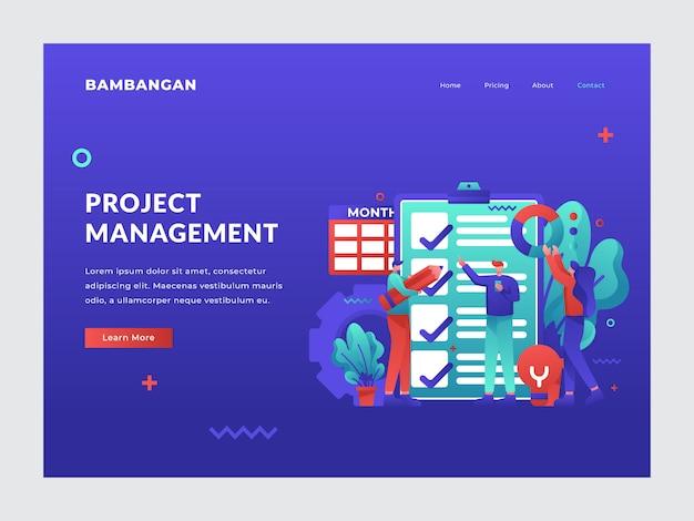Project management landing page Premium Vector