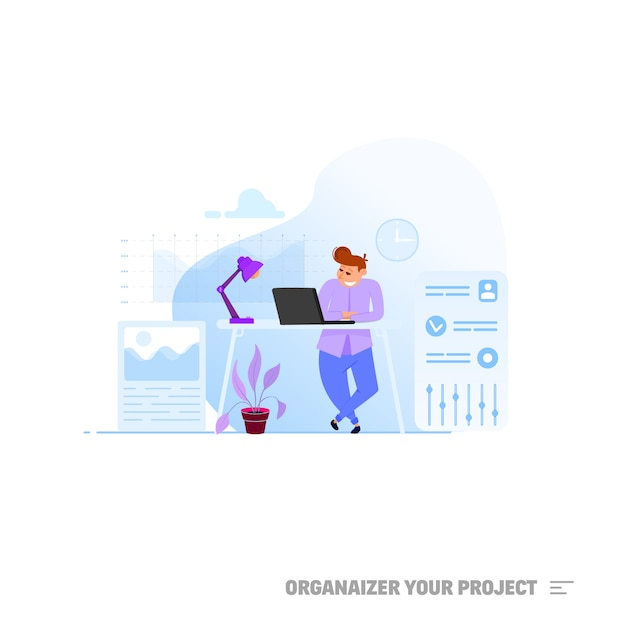 Project manager concept. Premium Vector