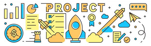 Projectillustratie achtergrond en banner Premium Vector