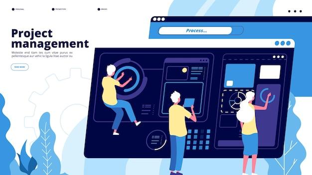 Projectmanagement landing. kleine jongens beheren grafieken op het dashboard, mensen projecteren software. teamwork brainstormen vector concept. projectsoftware, teamwerkbeheer en ontwikkelingsillustratie Premium Vector