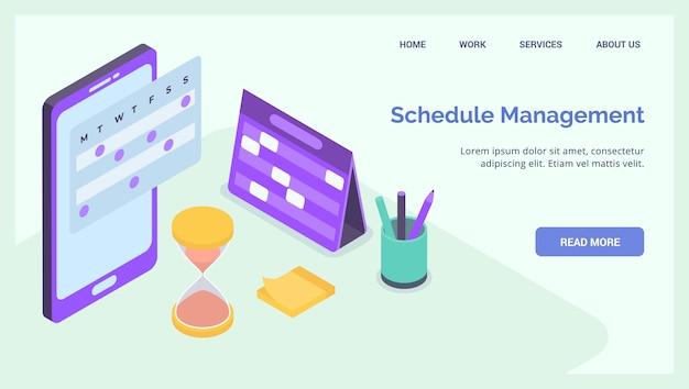 Projectplanning management bedrijf voor website landing homepage sjabloon banner isometrisch Premium Vector