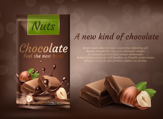 Promotie banner, pakket van melkchocolade met hazelnoten geïsoleerd op bruine achtergrond Gratis Vector