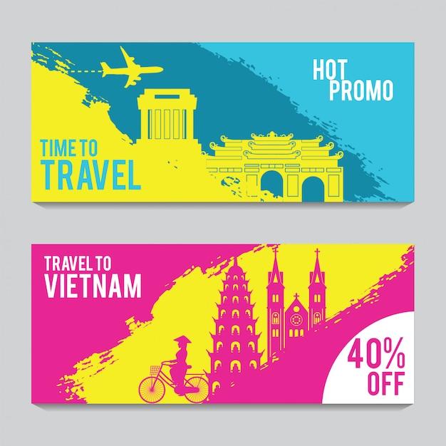 Promotie banner voor reizen naar vietnam Premium Vector