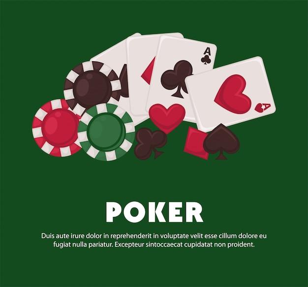 Promotie-poster voor pokerspel met speelkaarten en chips Premium Vector