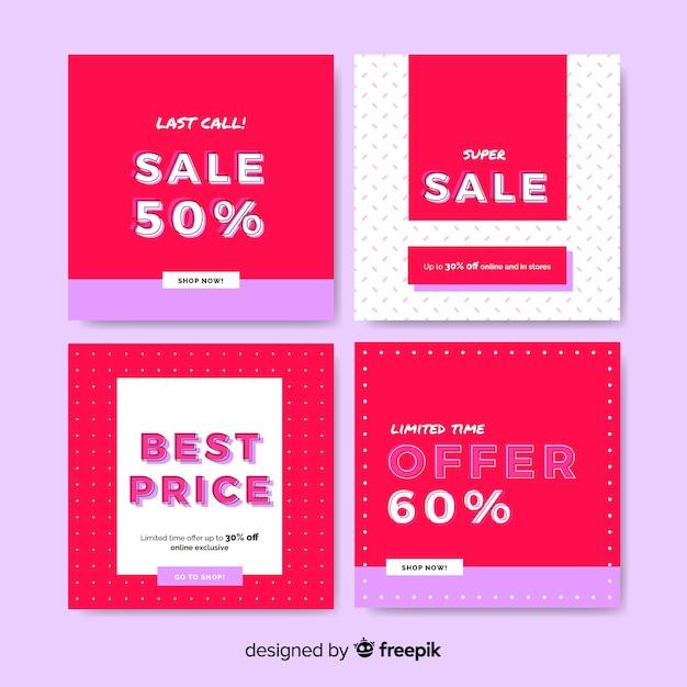 Promotie vierkante banners ontwerpen Gratis Vector