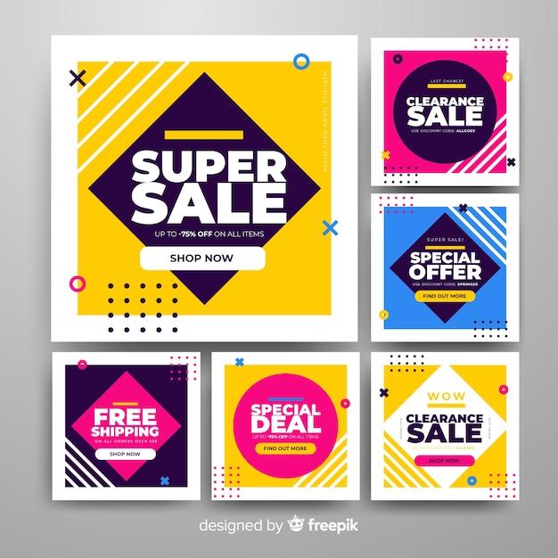 Promotie vierkante bannerverzameling Gratis Vector