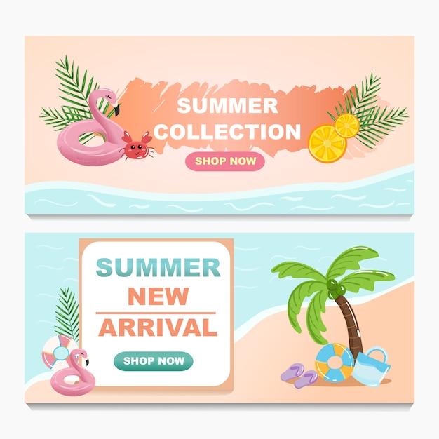 Promotie zomer verkoop banner ontwerpset collectie. Premium Vector