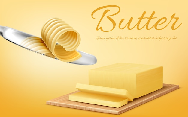 Promotiebanner met realistische gele stok van boter op scherpe raad en metaalmes. Gratis Vector