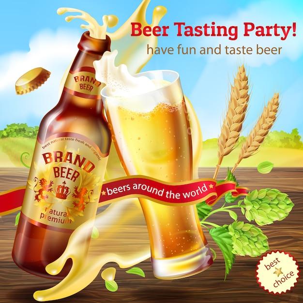 Promotiebanner voor bierproeverij, met bruine fles ambachtelijk bier Gratis Vector
