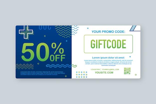 Promotiecode. cadeaubon met couponcode. premium e-cadeaukaartachtergrond voor e-commerce, online winkelen. marketing. illustratie. Premium Vector