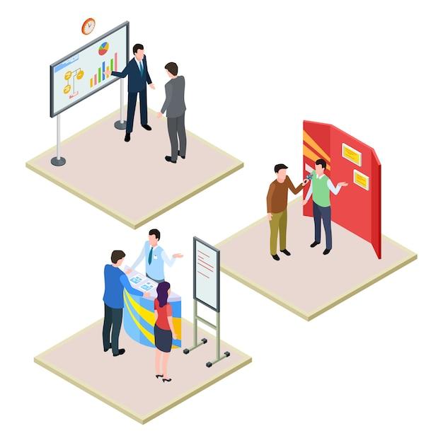 Promoties met zakenmensen en bezoekers ingesteld Premium Vector