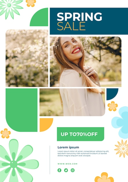 Promotionele lente verkoop sjabloon folderontwerp Gratis Vector